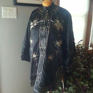 vintage Japanese silk kimono peacock